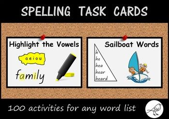 100 spelling activities that are suitable for any list of words.Suggested use:  task board.Included:   100 task cards.  Must Do / Can Do cards (4 different options).  Teacher notes.Suitable for many classrooms around the world: 7 alternative cards are provided to suit US/UK classrooms.