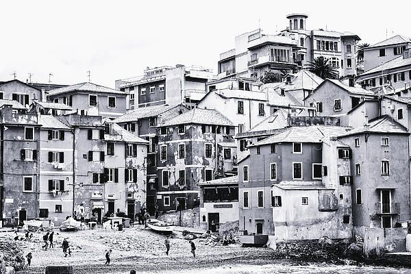 The Harbor, Boccadasse, Genoa, Italy in black and white #Photo on Pinterest