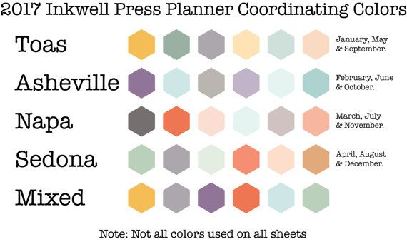 2017 Inkwell Press Planner color scheme by month