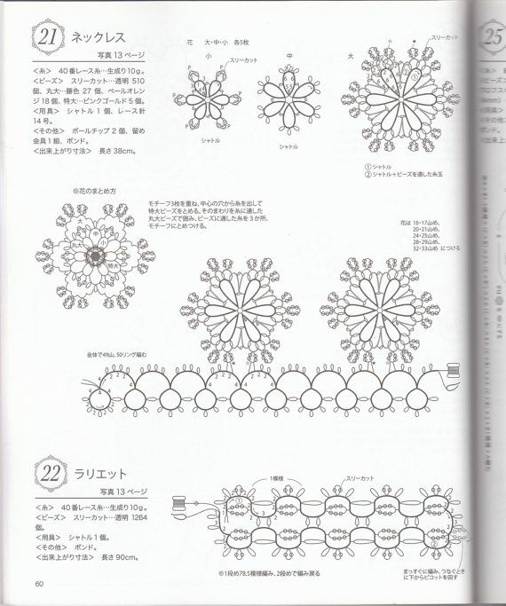 Tatting lace beaded jewelry pattern japanese by LibraryPatterns