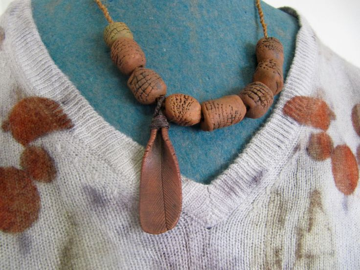 earthy ceramic necklace by colourclothclay on Etsy