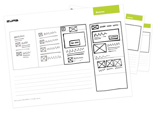 レスポンシブなWebサイトのモックアップを作成するのに便利な手書き用のスケッチシートテンプレート。