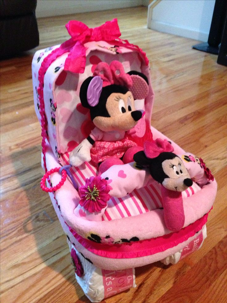 Mini Mouse Carriage Diaper Cake that I custom made on my own using Thons video tutorial on YouTube.