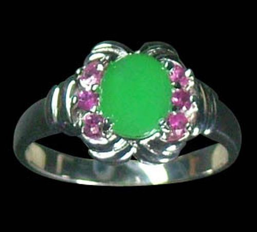 NATURAL CHRYSOPRASE AND NATURAL PINK SAPPHIRES IN STERLING RING SZ 7.5  $55.00  Plus $5.95 registered mail from thailand office delivery time  12-25 days  delivery guarenteed