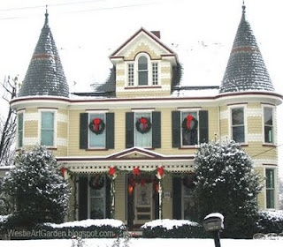 Westie, Art & Garden...by Candylei: Victorian Houses Frosted