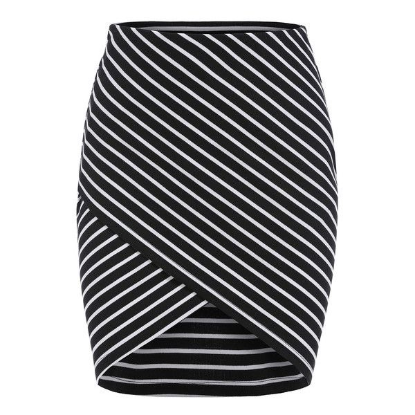 SheIn(sheinside) Black Cross Front Striped Bodycon Skirt ($9.99) ❤ liked on Polyvore featuring skirts, bottoms, saias, faldas, jupes, black, stretchy skirt, bodycon skirt, striped short skirt and black skirt