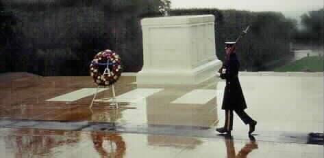 "Guard at tomb of Unknown Soldier at Arlington.  ""Here Rests In Honored Glory An American Soldier Known But To God."""