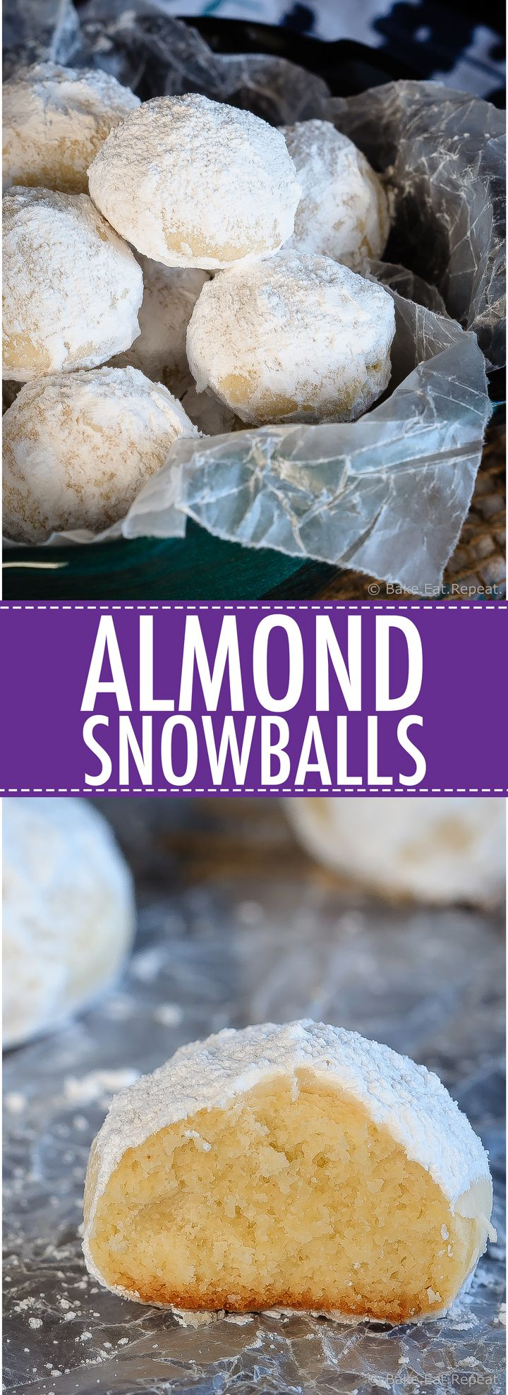 Easy to make, melt in your mouth, almond snowball cookies.  These crumbly little almond flavoured cookies are perfect for Christmas!