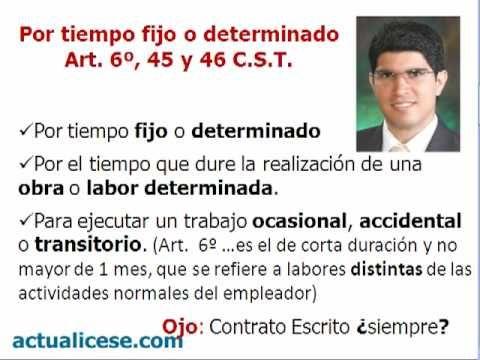 Clases de Contratos de Trabajo (VIDEOS)(actualicese.com) (COLOMBIA)