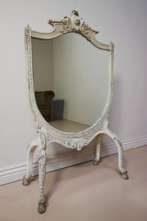 antique victorian painted gilt walnut fire screen mirror furniture