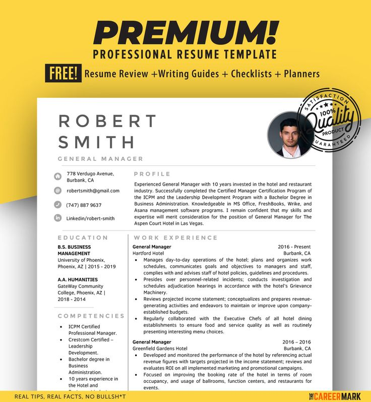 General manager modern resume template for word the