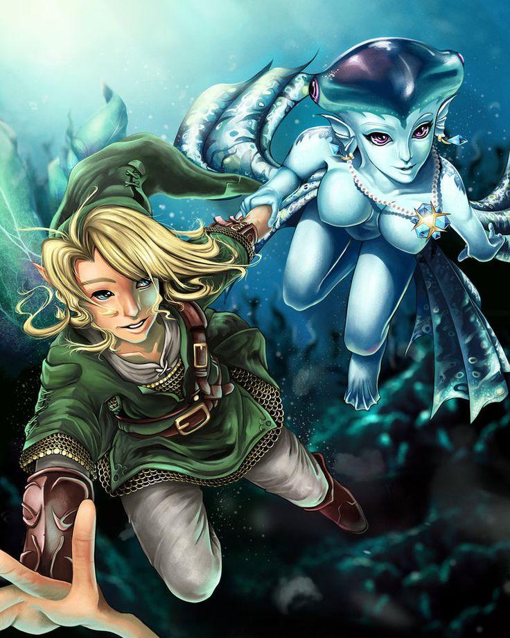 Link and Princess Ruto - Bathe in Time by ~ProjectVirtueFan Art, Ocarina Of Times, Adult Link, Videos Games, Princesses Ruto Projectvirtu, Projectvirtue Deviantart Com, Legend Of Zelda, Geeky Stuff, Fanart