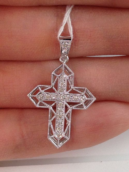 18k Small White Gold Cross with Diamonds - $350