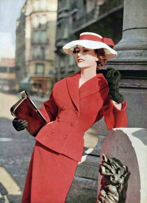 Classic pencil skirt suit with double-breasted shawl collar jacket, hat with matching hatband, gloves, and clutch purse - classic and timeless