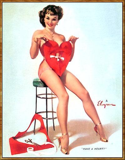Happy V-day / 1964 by Gil Elvgren #valentine #vintage