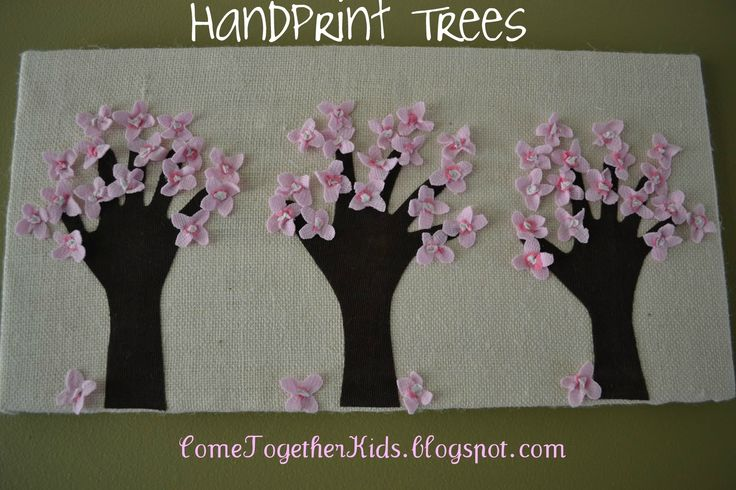 kids holiday tree ornament with handprints | Handprint Trees Wrapped Canvas