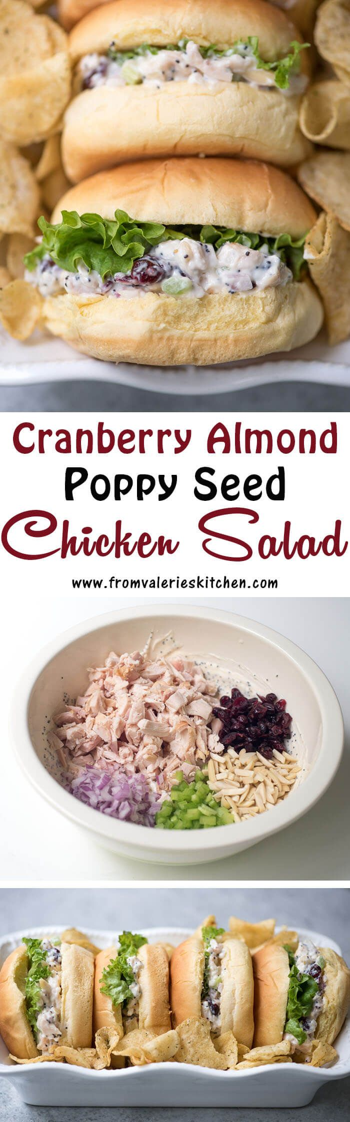 A tangy, lightly sweet poppy seed dressing graces this pretty Cranberry Almond Poppy Seed Chicken Salad. Layer it on rolls for a delicious, light meal! ~ https://www.fromvalerieskitchen.com