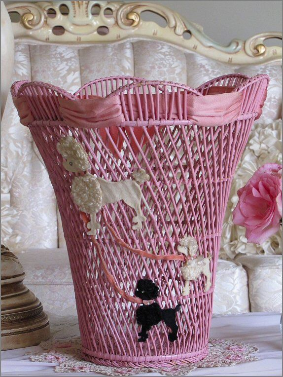 Charming Vintage 1950s PINK POODLE WICKER Basket, Waste Basket.