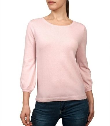Wool Overs Womens Blouse Sleeved Jumper Pale Pink