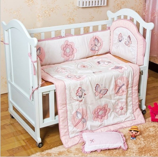 99.00$  Buy now - http://ali34t.worldwells.pw/go.php?t=32603083395 - Promotion! 6PCS embroidery Baby Girl Bedding Set Baby Quilt Nursery Cot Crib Bedding ,include(bumper+duvet+bed cover) 99.00$