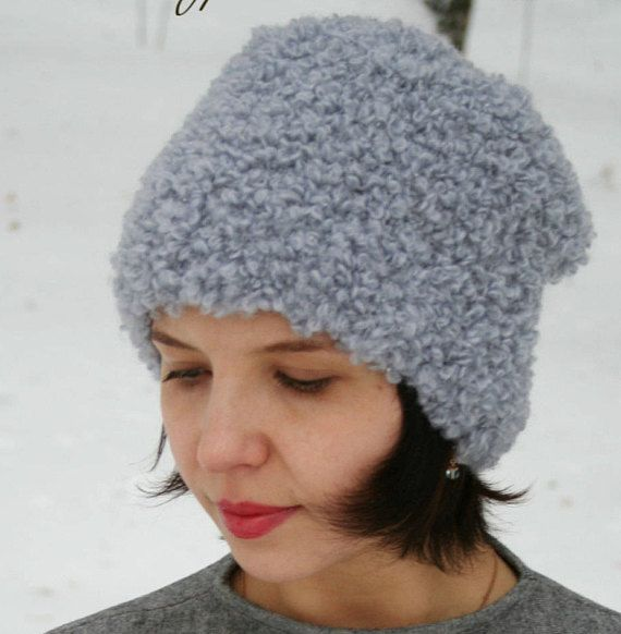 Warm Wool Gray Winter Crochet Beanie Hat Womens Knit Hat