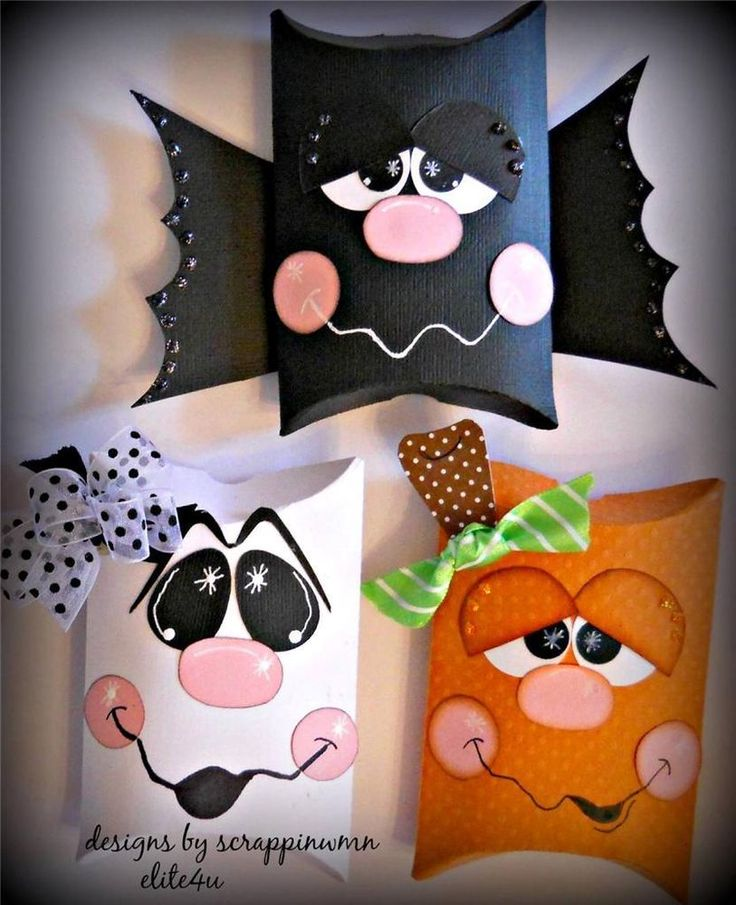 elite4u scrappinwmn premade scrapbook halloween treat boxes paper piecing set - Halloween Treat Holders