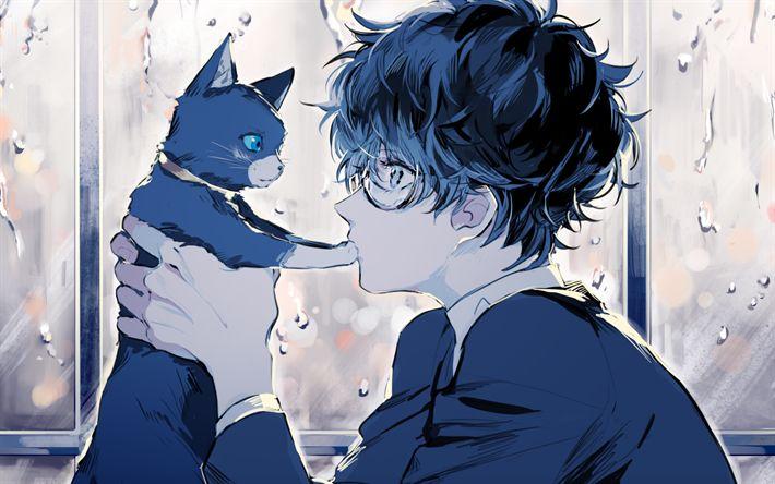 Herunterladen hintergrundbild kurusu, akira, black cat, manga, persona 5, megami tensei