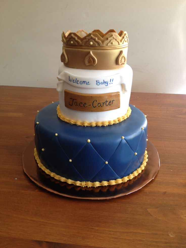 Cake With Crown For Boy : Baby shower - Boys Kings Crown cake I finished this ...