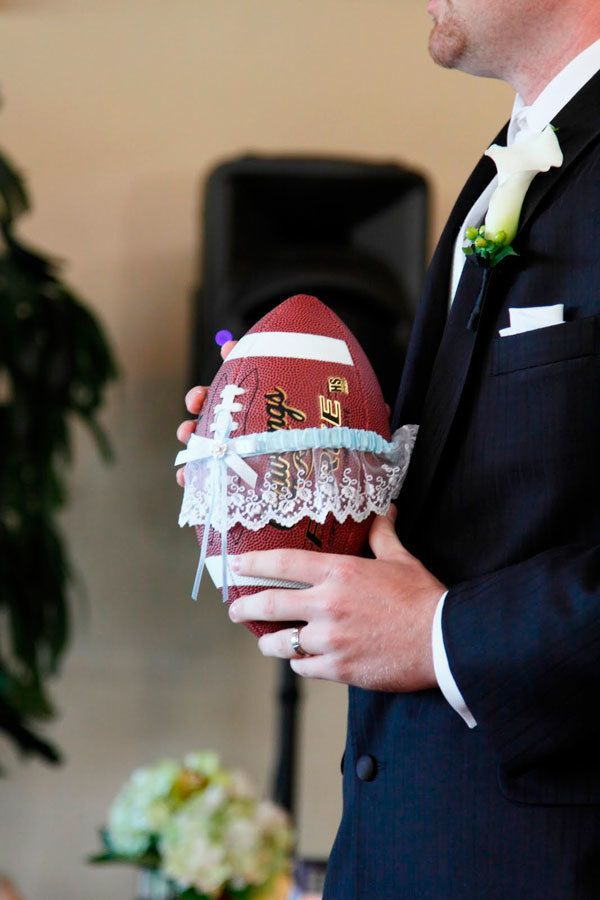 Garter Football Pass: You know which groomsman you want to target to get married next. Don't risk it with a random toss. Wrap that garter around a football for a completed pass at the wedding reception.