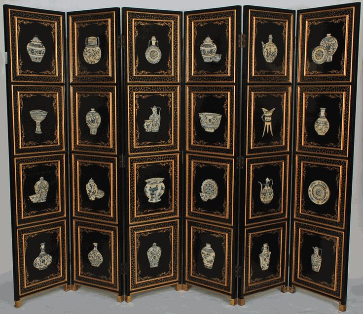 chinese screens room dividers | Asian Decor: Chinese Wooden Screen Room Divider with Stone Inlay from ...