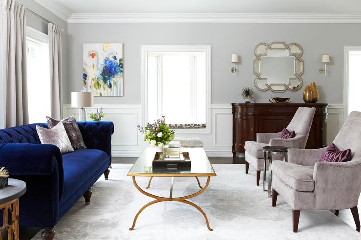 blue velvet sofa in Living Room Transitional with Art accessories