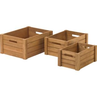Buy Set of 3 Wooden Storage Crates at Argos.co.uk - Your Online Shop for Storage baskets and boxes.