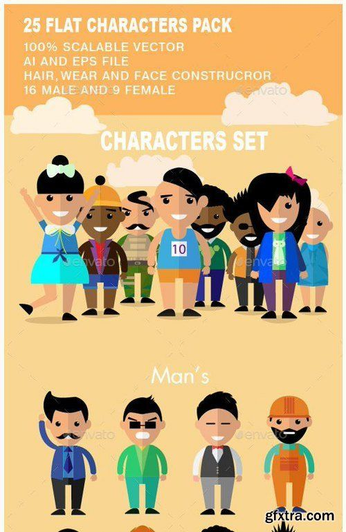 Graphicriver 25 Flat Characters Design Vector Pack 12212224