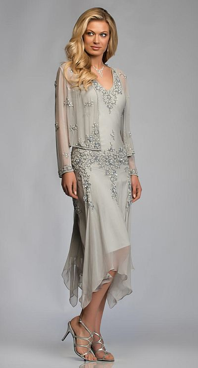 2014 Gorgeous Chiffon Appliques Lace Tea Length Mother Of The Bride Dresses With Jacket Pant Suits Deep V-neck For Weddings