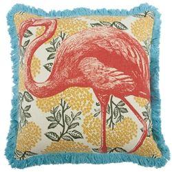 "18"" Flamingo Pillow Coral pink yellow floral modern vintage thomaspaul"