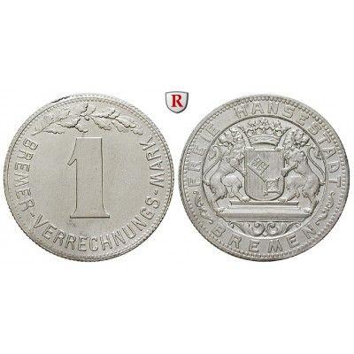 Nebengebiete, Bremen, 1 Verrechnungsmark o. J., f.st, J. N45: Aluminium-1 Verrechnungsmark o. J. J. N45; fast stempelfrisch, kl.… #coins