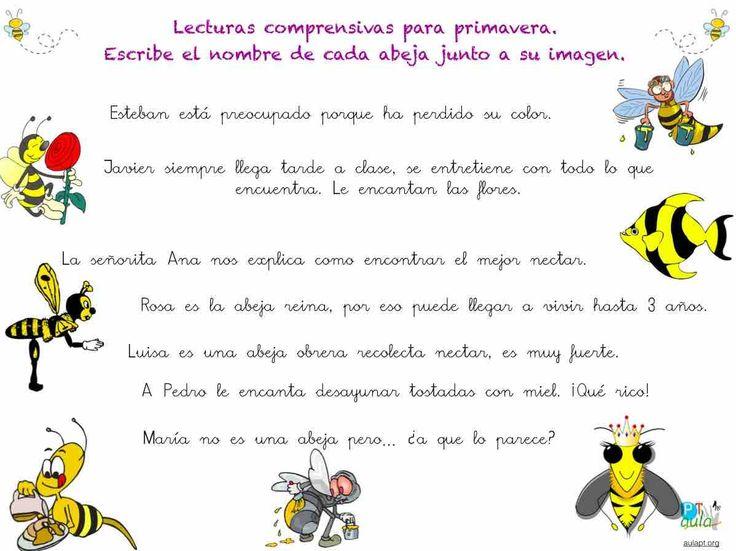 lectura comprensiva de frases, las abejas