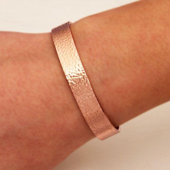 Wide Hammered Cuff Bracelet, 14K Rose Gold Filled