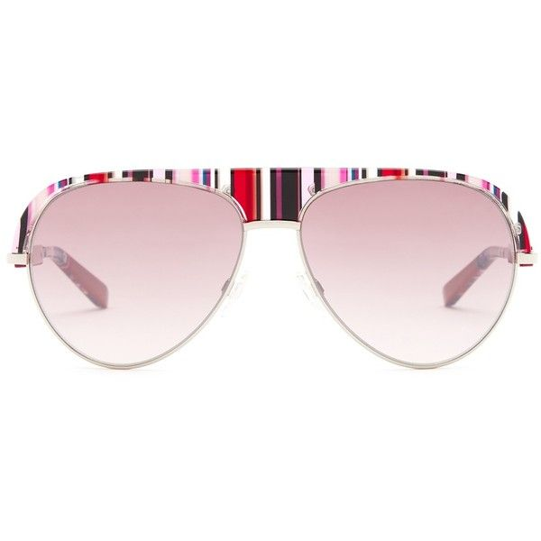 Missoni Women's Striped Retro Aviator Sunglasses ($120) ❤ liked on Polyvore featuring accessories, eyewear, sunglasses, fuschia, gradient glasses, retro aviator glasses, retro sunglasses, retro eyewear and striped glasses