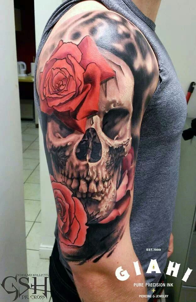 Skull And Rose Tattoo Half Sleeve Ideas Tattoos Rose Tattoos