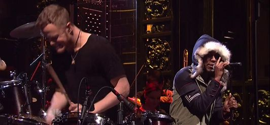 """Imagine Dragons And Kendrick Lamar performed the, """"Radioactive,"""" remix on """"Saturday Night Live. Props Yardie"""