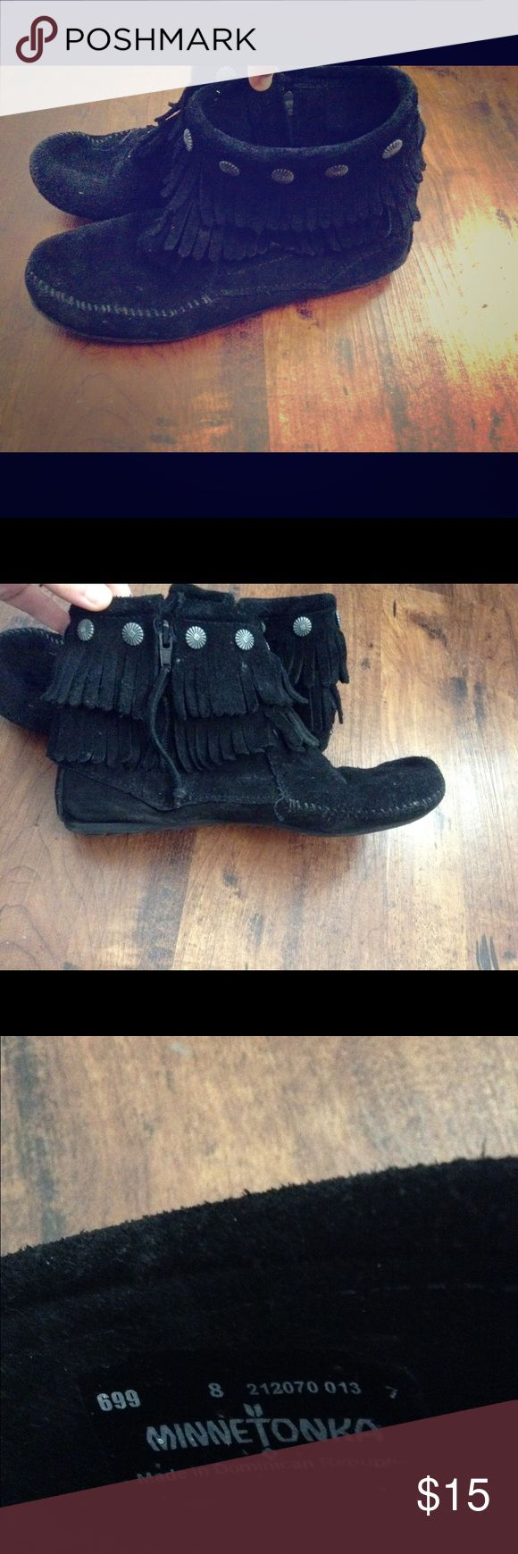 Black moccasin ankle booties Black moccasin ankle boots Minnetonka Shoes Ankle Boots & Booties