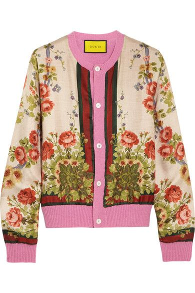 Gucci for NET-A-PORTER - Floral-print Silk And Wool-blend Cardigan - Pink -