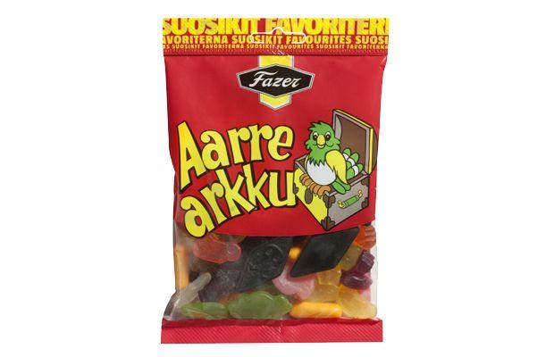 Fazer Aarrearkku - mix of fresh fruit candies, crunchy liquorice sticks and salty salmiakki.