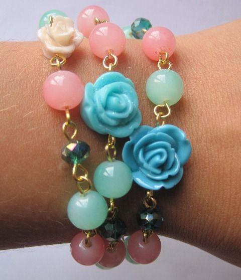 Set pulsera triple jardín rosas MAR ACCESORIOS