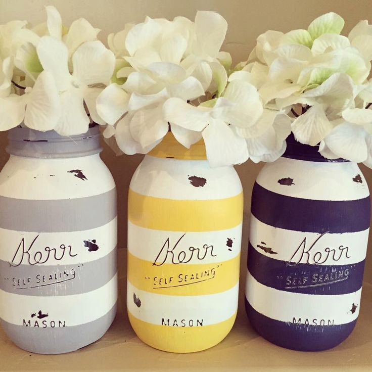 Set of 3 Quart Size (32oz) Painted and Distressed Kerr Mason Jars. Painted Stripes. Light Grey. Yellow. Navy Blue. by AJsLittleShop on Etsy https://www.etsy.com/listing/229139031/set-of-3-quart-size-32oz-painted-and