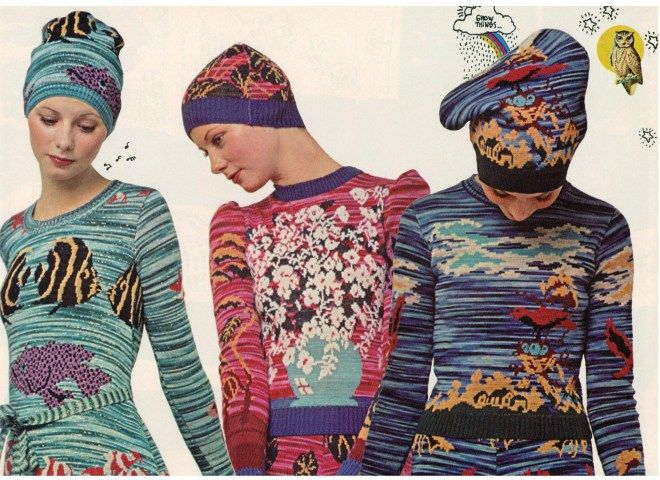 #TBT, Space Dye Yarn Jacquards-Betsey Johnson ~ Alley Cat ~ 1971