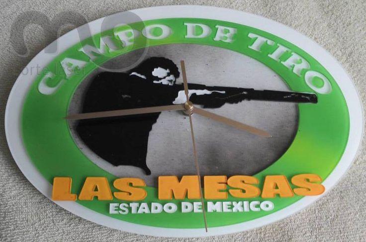 "Relojes personalizados en acrílico.   CAMPO DE TIRO ""LAS MESAS"" ESTADO DE MÉXICO.   https://www.facebook.com/morfolaser"