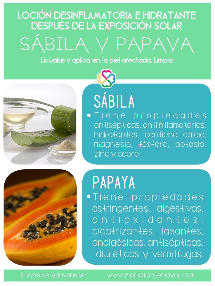 ¡Loción natural, sin químicos, para después de asolearte!    Más recetas naturales encontrarás en nuestro Programa El Arte de Rejuvenecer. http://www.mariamontemayor.com/#!el-arte-de-rejuvenecer/c17ly