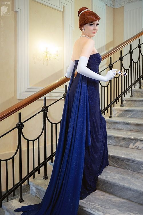 Another fantastic Anastasia cosplay, featuring the blue opera gown.